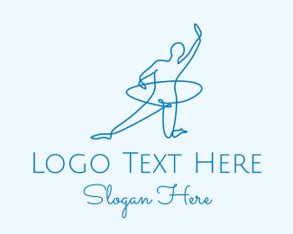 Gymnast - Monoline Gymnast Hoop logo design