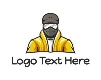 Snowboarding - Yellow Jacket Mask logo design