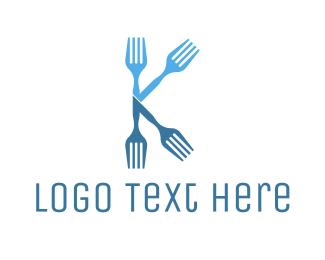 Chef - Blue Fork K logo design