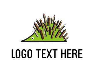 Porcupine - Pencil Hedgehog logo design
