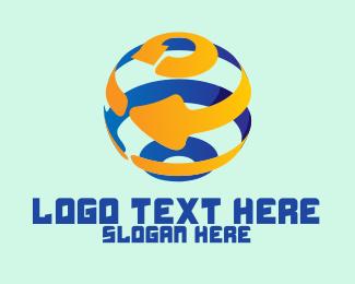 Recycling - Modern Recycling Globe logo design