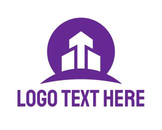 Growth - Violet Circle Arrow logo design