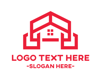 Service - Builder Red Frame House logo design