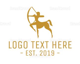 Archer - Gold Centaur Woman logo design