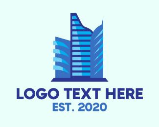 High Rise - Blue Corporate Building logo design