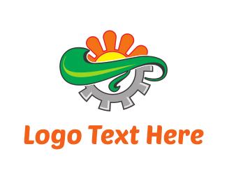 Flora - Orange Flower & Grey Screw logo design