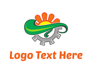 Iron - Orange Flower & Grey Screw logo design