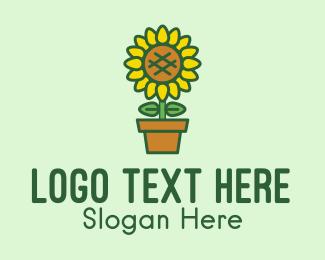 Pot Plant - Pot Plant Sunflower Flower logo design