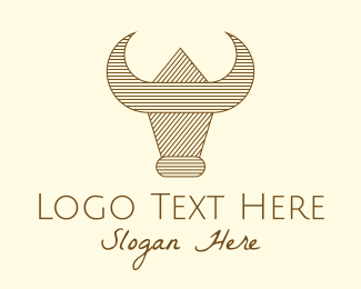 Farm - Ranch Farm Buffalo Bull logo design
