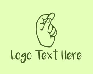 Coin - Green Coin Hand logo design