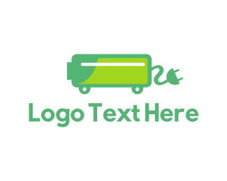 Battery - Green Electric Car Charger logo design