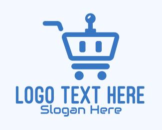 Retail Store - Blue Robot Shopping Cart logo design