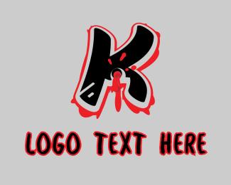 Bullet Hole - Splatter Graffiti Letter K logo design