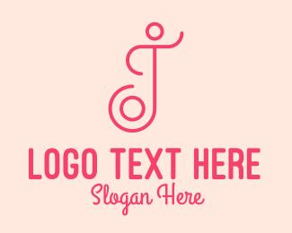 Yoga Instructor - Pink Wellness Spa Letter J logo design