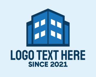 Building Maintenance - Blue Building Tower logo design