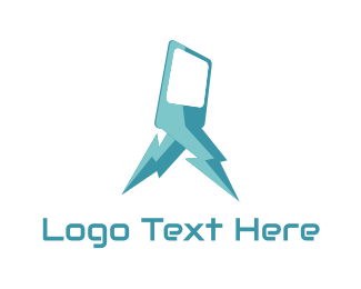 Telephone - Blue Lightning Phone logo design