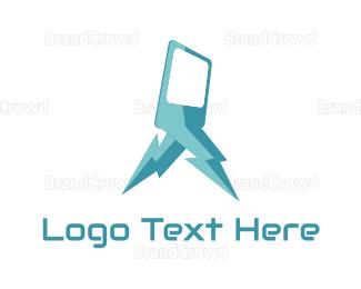 Mobile Phone - Blue Lightning Phone logo design