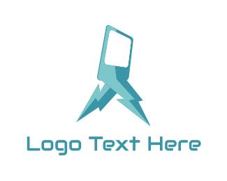 Lightning - Blue Lightning Phone logo design