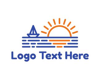 Sunscreen - Blue Boat & Sunrise logo design