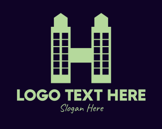 Green City - Green Twin Tower H logo design