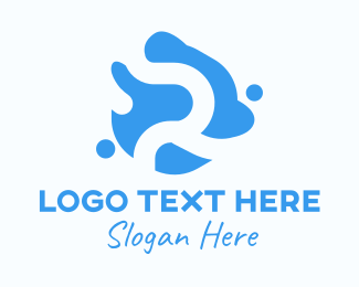 Element - Blue Liquid Letter R logo design