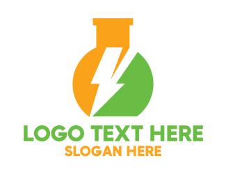 Bio Tech - Thunder Flask logo design