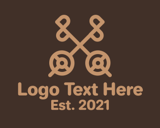 Lock And Key - Brown Antique Key  logo design