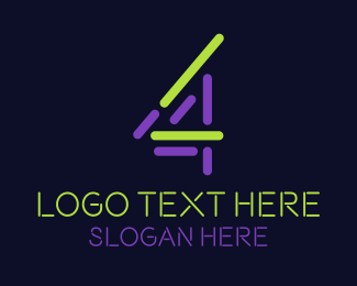 4th - Abstract Number 4 logo design
