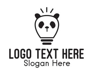 Lighting - Black Panda Light Bulb logo design