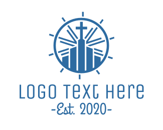 Bible Study - Blue Christian Cathedral logo design