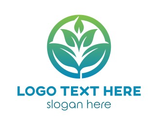 Agriculture - Gradient Leaf Badge logo design