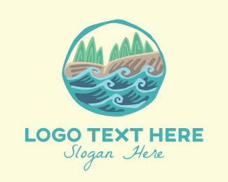Hiking - River Trees Landscape logo design