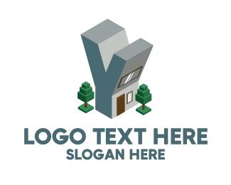 Trees - Modern Building Letter Y logo design