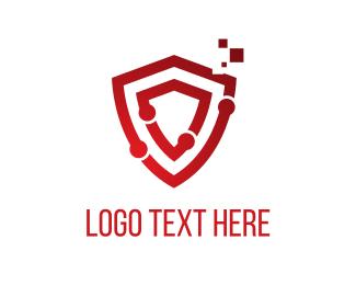 Gadget - Tech Red Shield logo design