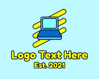 Information Technology - Cartoon Laptop Icon logo design