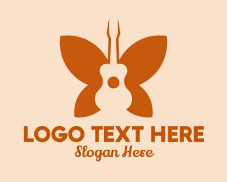 Recital - Butterfly Guitar Wings  logo design