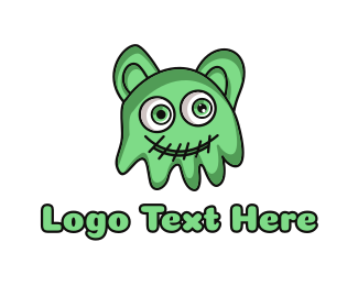 Green Slime Jelly Monster Logo
