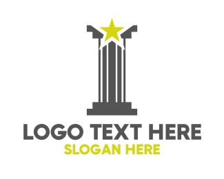 Shooting Star - Grey Pillar Star logo design