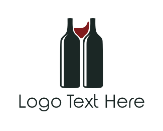 Booze - Red Wine Bottles logo design