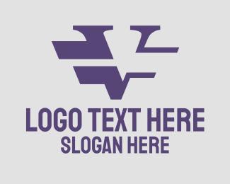 Strikethrough - Modern Purple V Lines logo design