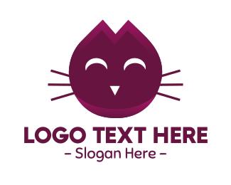 Meow - Cute Maroon Cat Kitten logo design