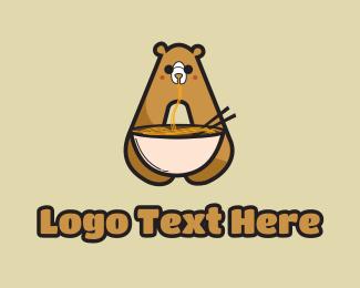 Teddy - Noodle Bear Letter A logo design