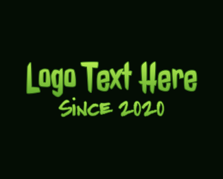 Gooey - Horror Green Slime Text logo design
