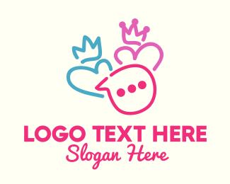 Crown - King & Queen Couple Messaging logo design