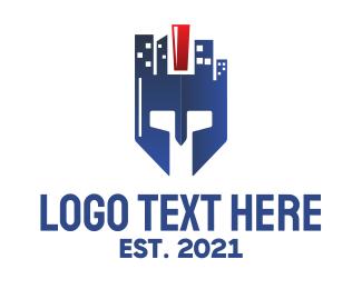 Buildings - Blue City Helmet logo design