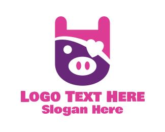 Girly - Cute Pirate Pig logo design