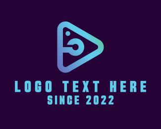 Lens - Light Blue Photo Play logo design