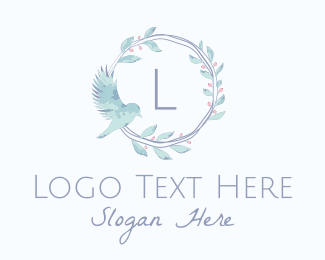 Pastel Color - Wedding Watercolor Bird Lettermark logo design