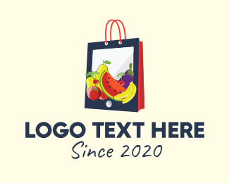 Healthy Food - Mobile Fruit Shopping Bag logo design
