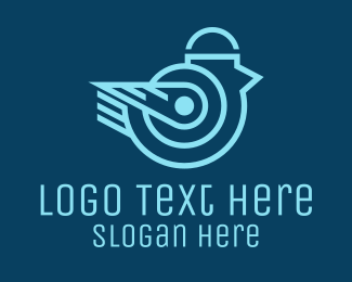 Cyber - Blue Cyber Bird  logo design